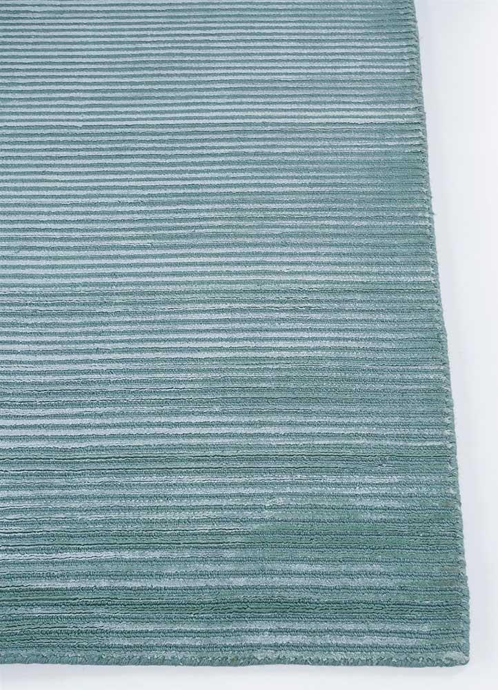 basis blue wool and viscose hand loom Rug - Corner
