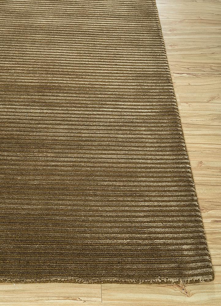 basis gold wool and viscose hand loom Rug - Corner