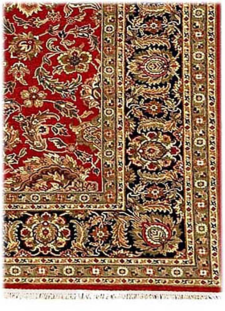 atlantis red and orange wool hand knotted Rug - Corner