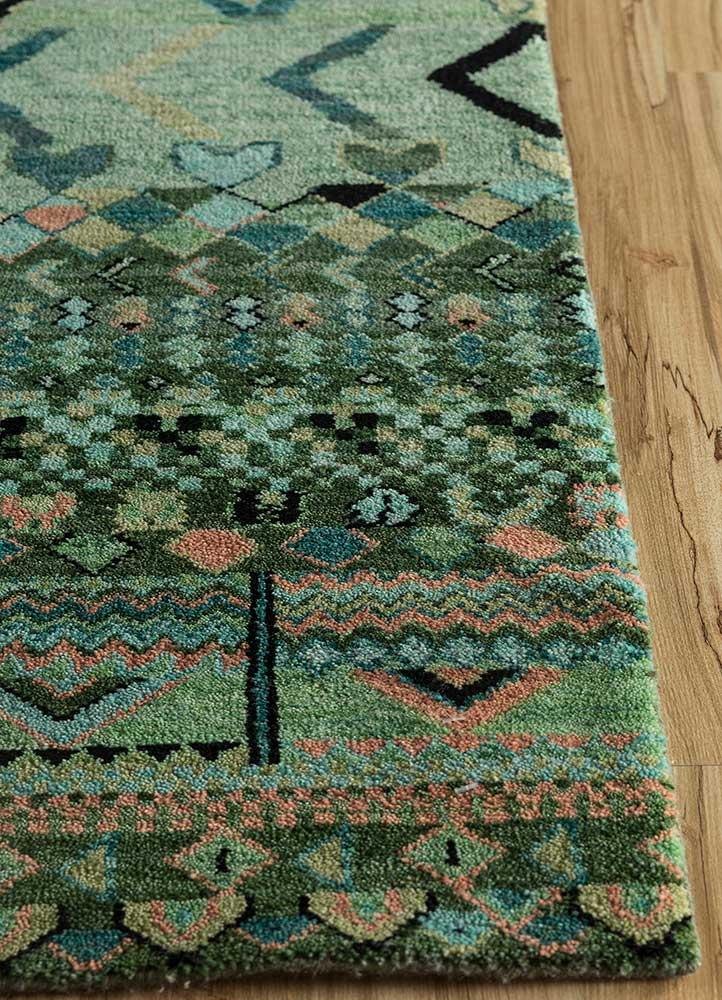 artisan originals blue wool hand knotted Rug - Corner