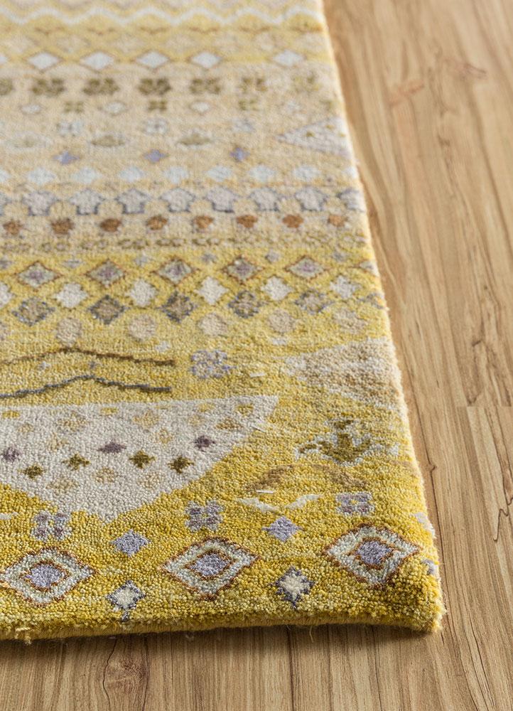 artisan originals gold wool and bamboo silk hand knotted Rug - Corner