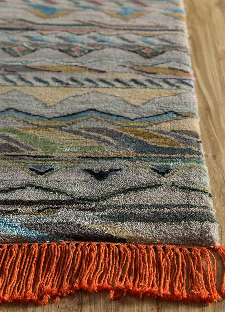 artisan originals grey and black wool and bamboo silk hand knotted Rug - Corner