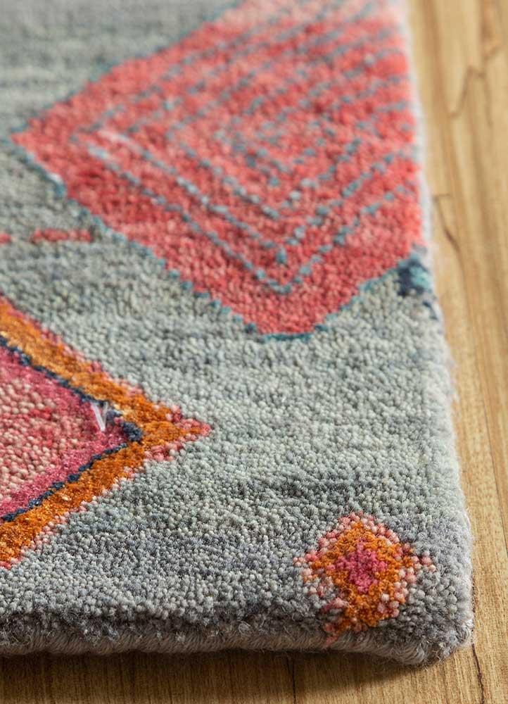 artisan originals blue wool and bamboo silk hand knotted Rug - Corner