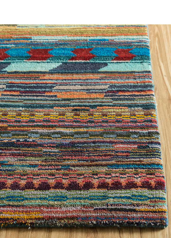 freedom manchaha blue wool and bamboo silk hand knotted Rug - Corner