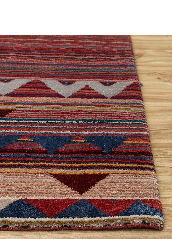 freedom manchaha red and orange wool and bamboo silk hand knotted Rug - Corner