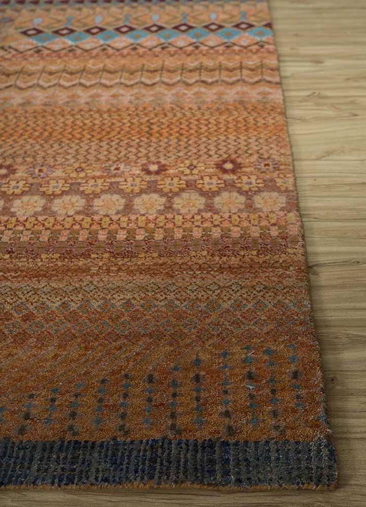 artisan originals red and orange wool and bamboo silk hand knotted Rug - Corner