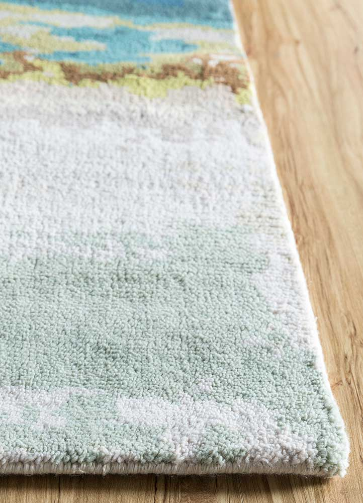outdoor ivory polyester hand knotted Rug - Corner