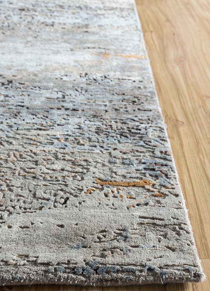 entropy grey and black wool and bamboo silk hand knotted Rug - Corner