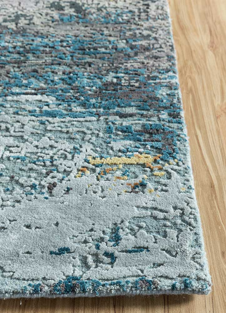 entropy blue wool and bamboo silk hand knotted Rug - Corner