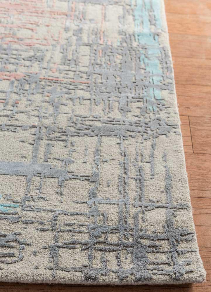 uvenuti ivory wool and bamboo silk hand knotted Rug - Corner