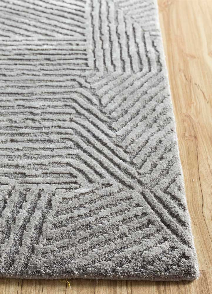 geode grey and black wool and bamboo silk hand knotted Rug - Corner