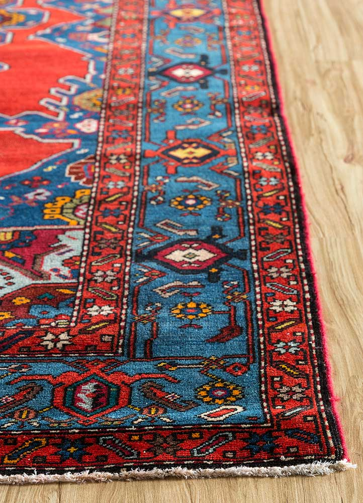 antique red and orange wool hand knotted Rug - Corner