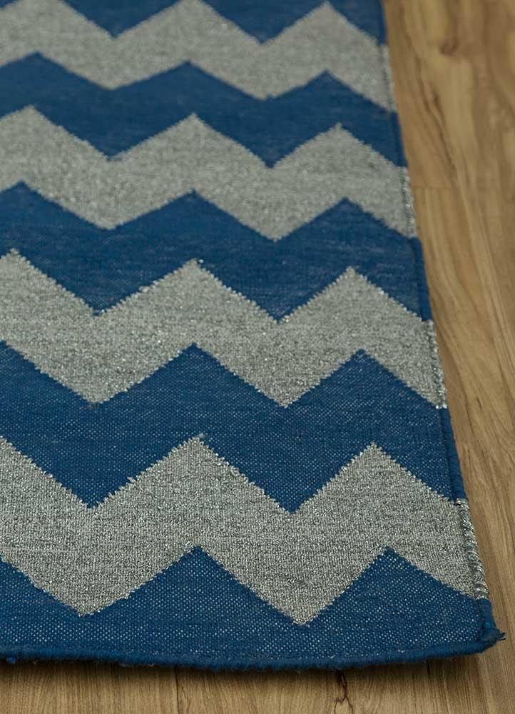 indusbar blue cotton flat weaves Rug - Corner