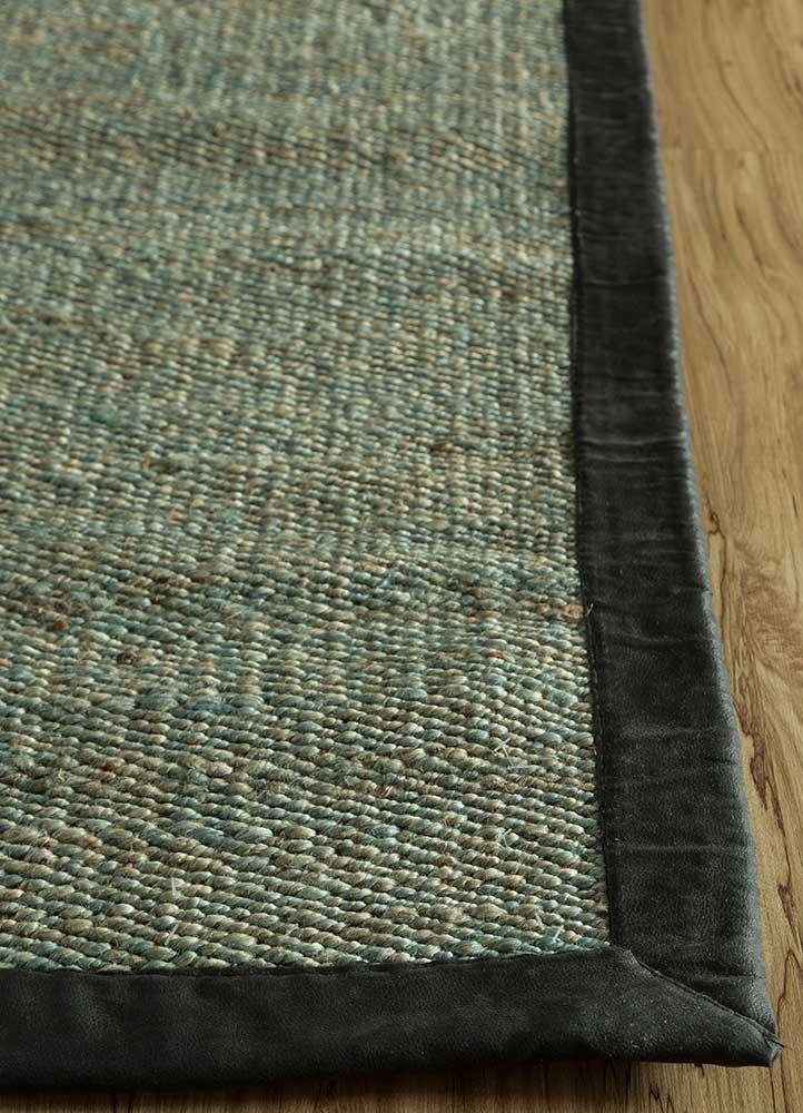 abrash blue jute and hemp flat weaves Rug - Corner