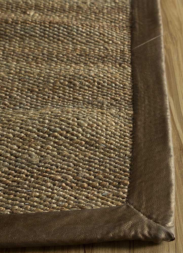 abrash grey and black jute and hemp jute rugs Rug - Corner