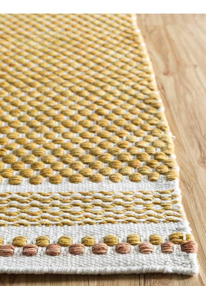 abrash gold polyester flat weaves Rug - Corner