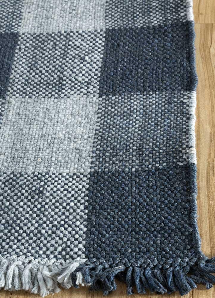 anatolia blue polyester flat weaves Rug - Corner