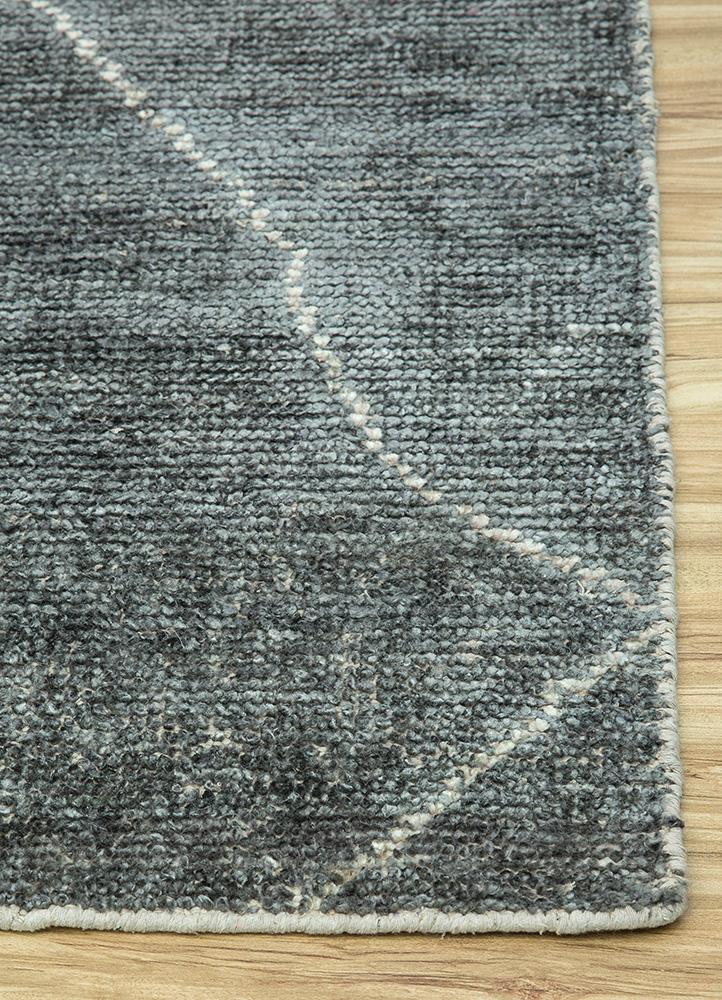 anatolia grey and black viscose flat weaves Rug - Corner