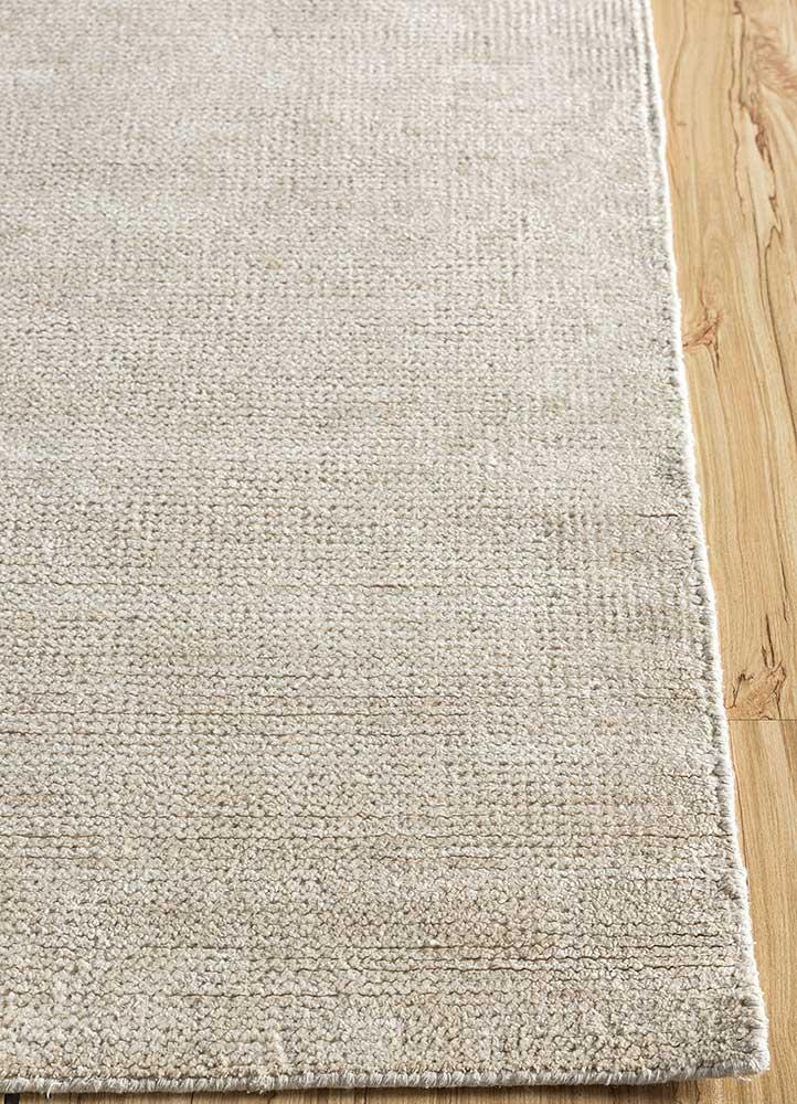 outdoor beige and brown viscose hand loom Rug - Corner