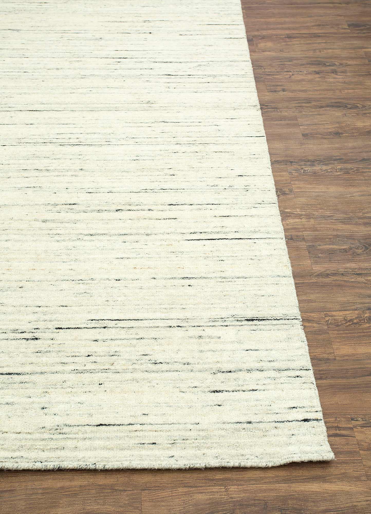 eron beige and brown wool hand loom Rug - Corner