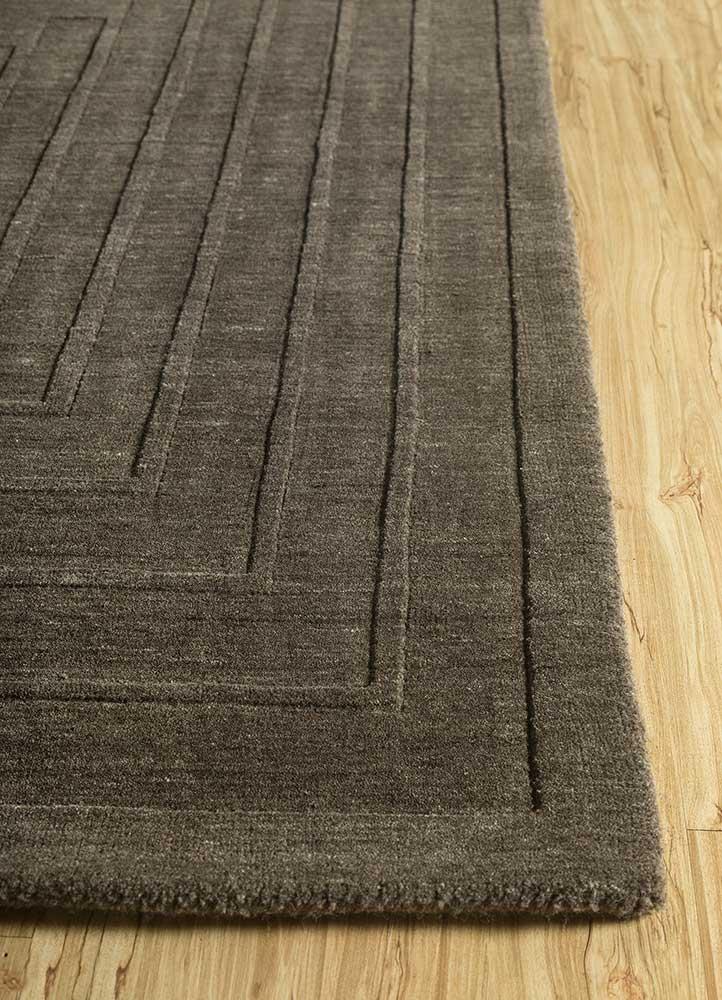 oxford grey and black wool hand loom Rug - Corner
