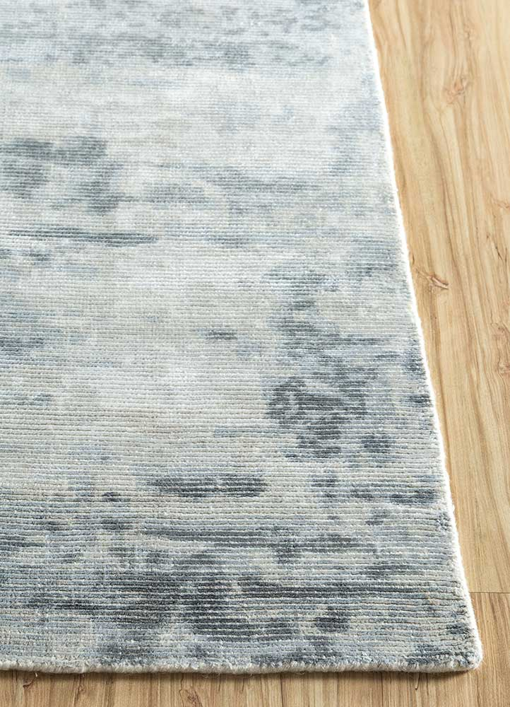 entropy blue wool and viscose hand loom Rug - Corner