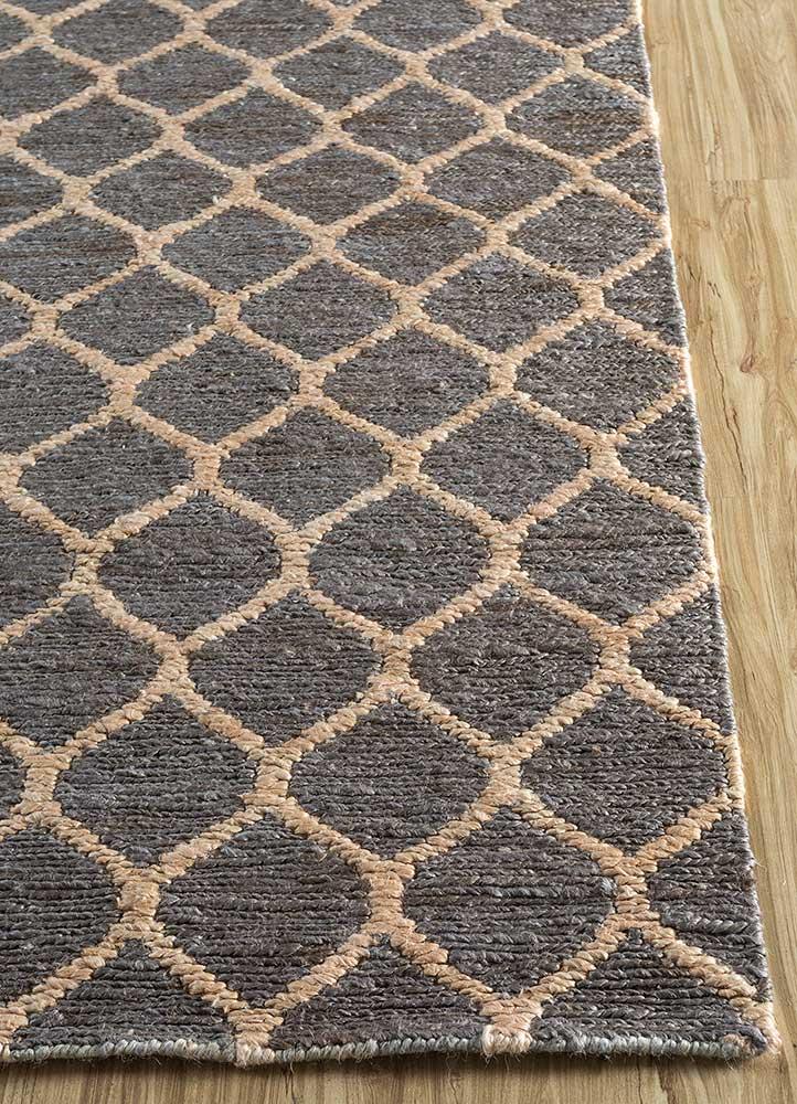 spatial grey and black jute and hemp jute rugs Rug - Corner