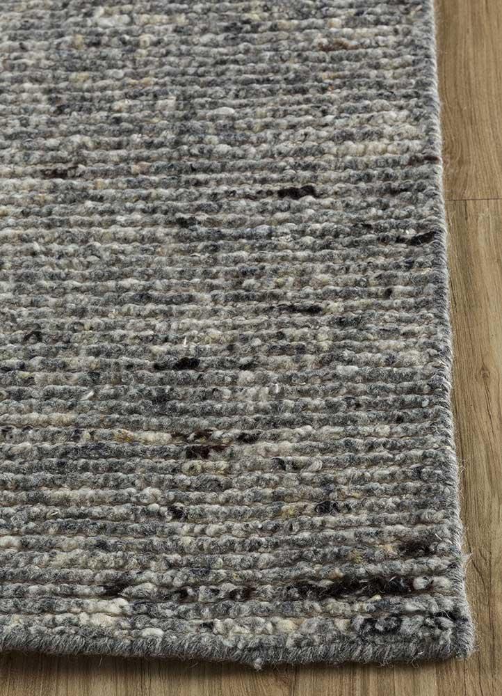 zuri grey and black wool hand knotted Rug - Corner