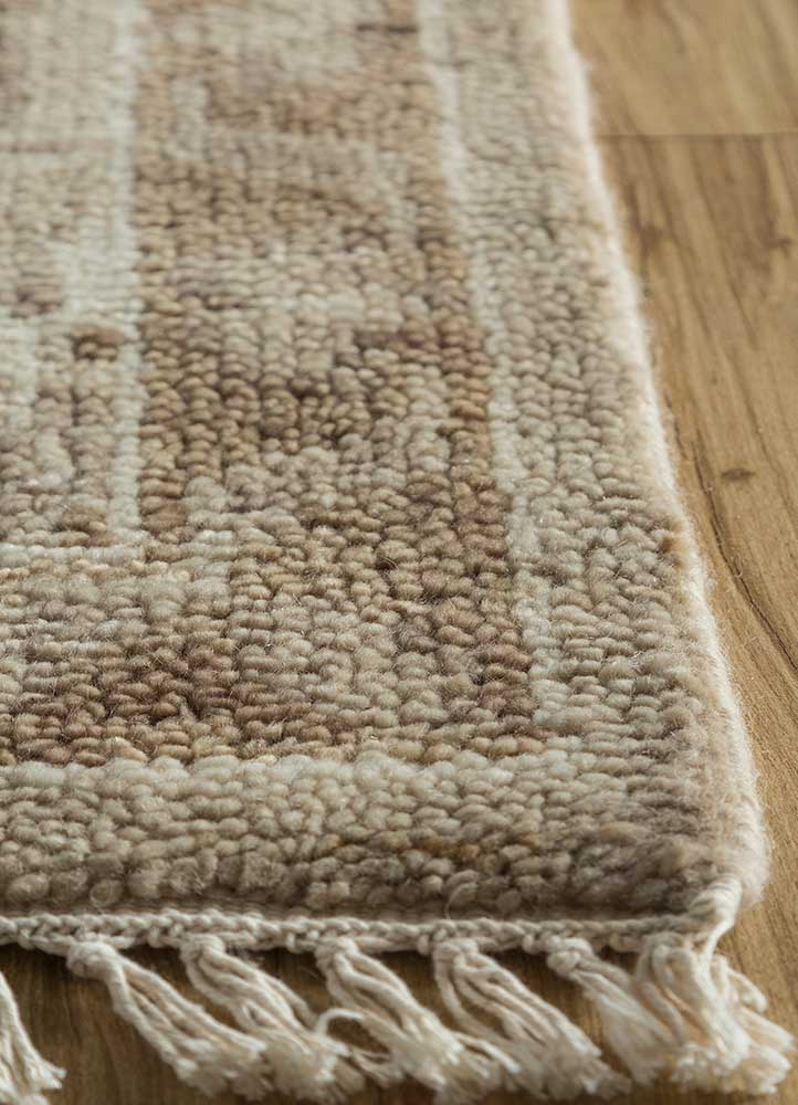 liberty beige and brown wool hand knotted Rug - Corner