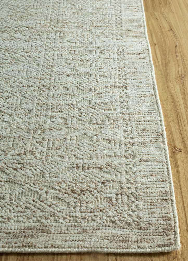 revolution ivory wool hand knotted Rug - Corner