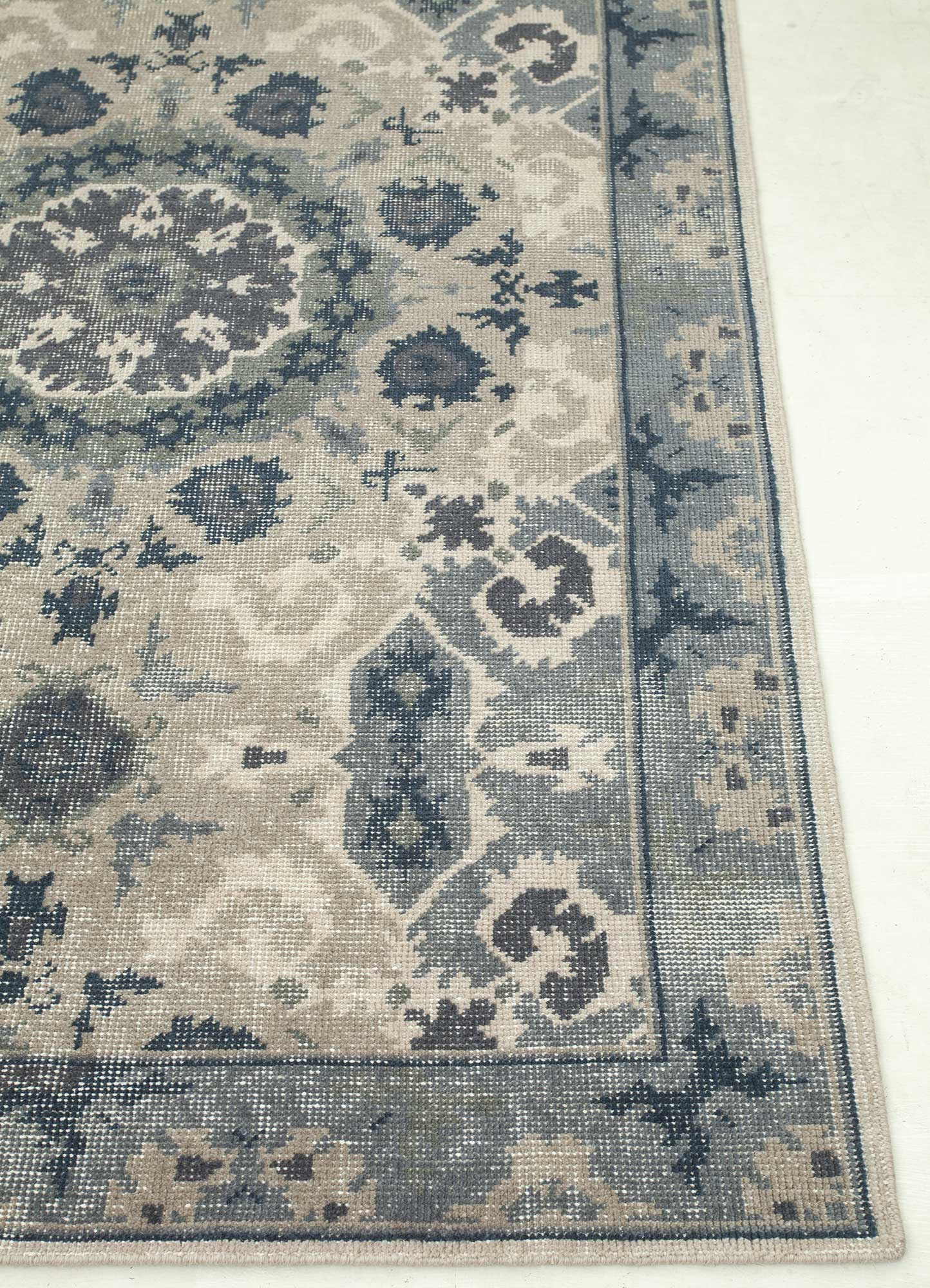 revolution beige and brown wool hand knotted Rug - Corner