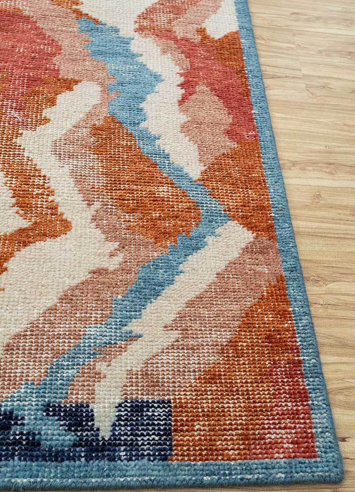 revolution red and orange wool hand knotted Rug - Corner
