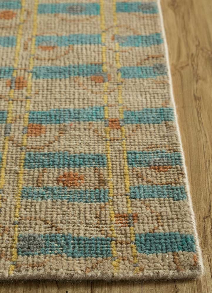 cleo beige and brown wool hand knotted Rug - Corner