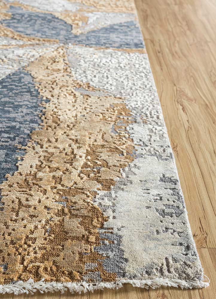 kibrast blue wool and silk hand knotted Rug - Corner