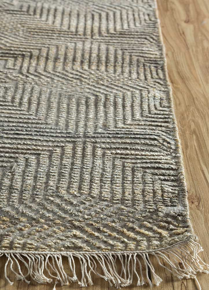 revolution beige and brown wool and viscose hand knotted Rug - Corner