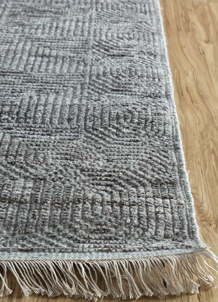 cleo beige and brown wool and viscose hand knotted Rug - Corner