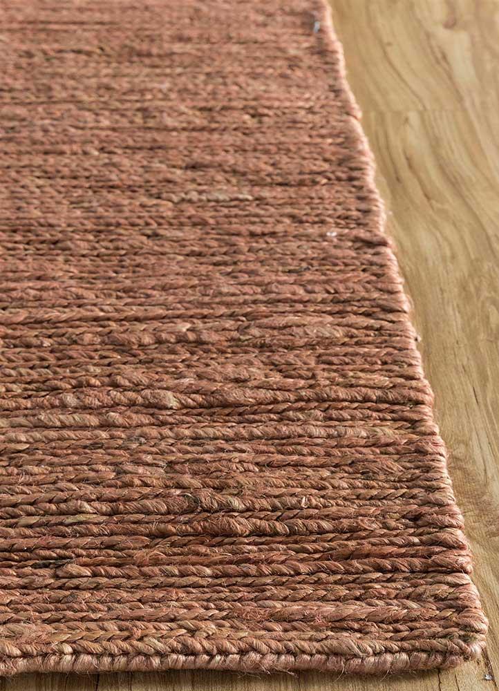abrash red and orange jute and hemp flat weaves Rug - Corner