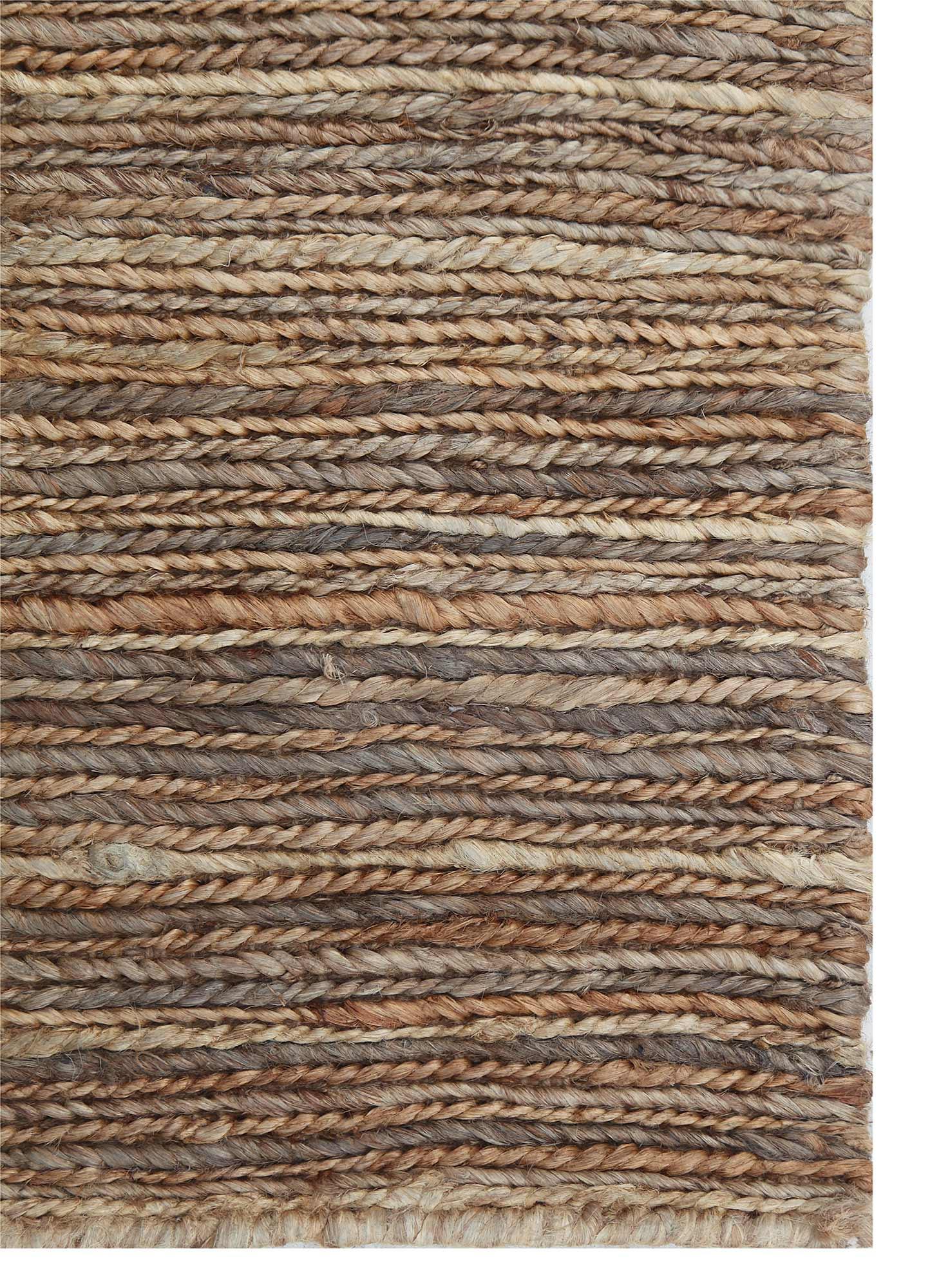 abrash beige and brown jute and hemp flat weaves Rug - Corner