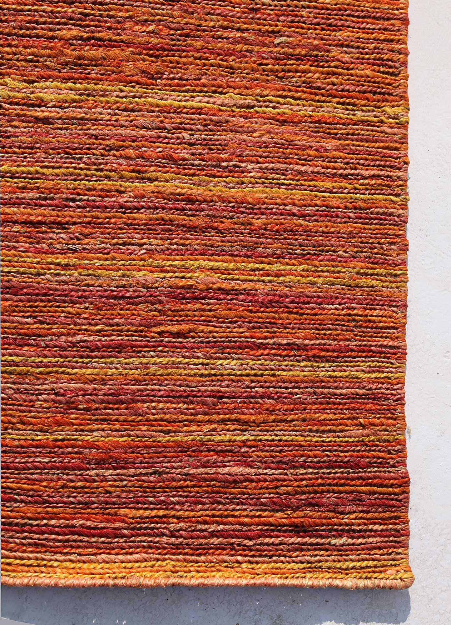 abrash red and orange jute and hemp jute rugs Rug - Corner