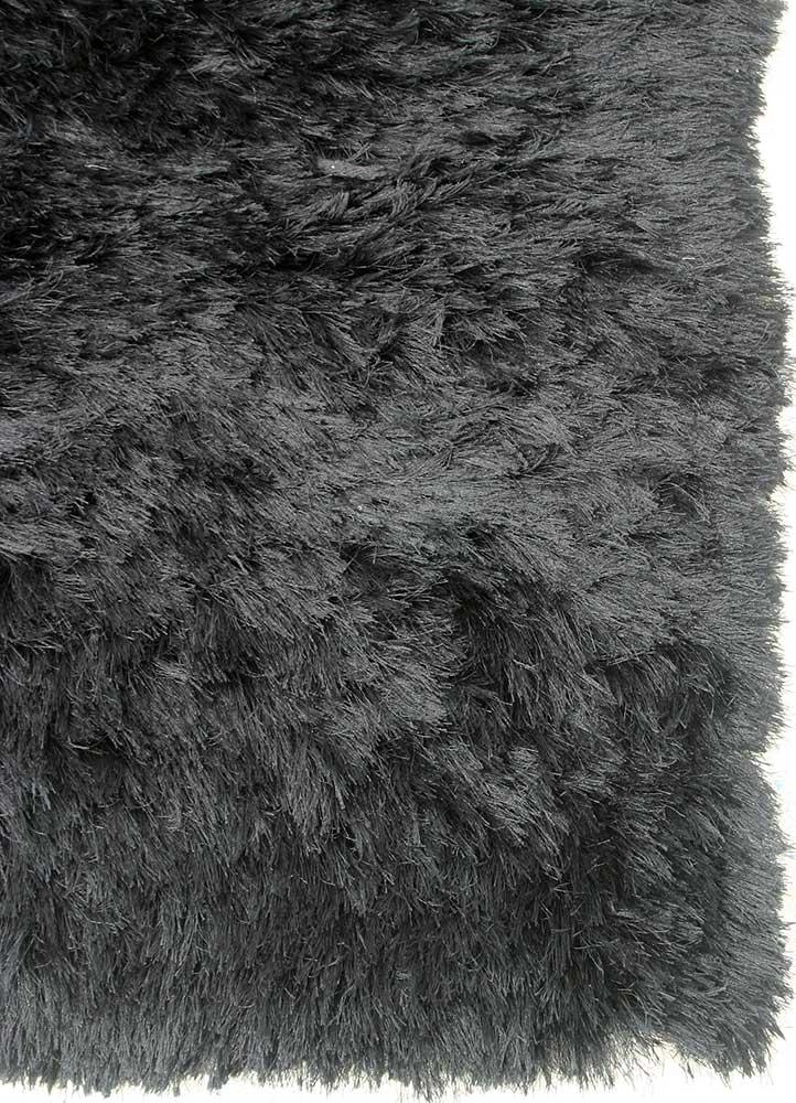 verve grey and black polyester shag Rug - Corner