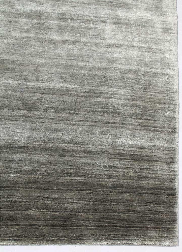 yasmin grey and black bamboo silk hand loom Rug - Corner