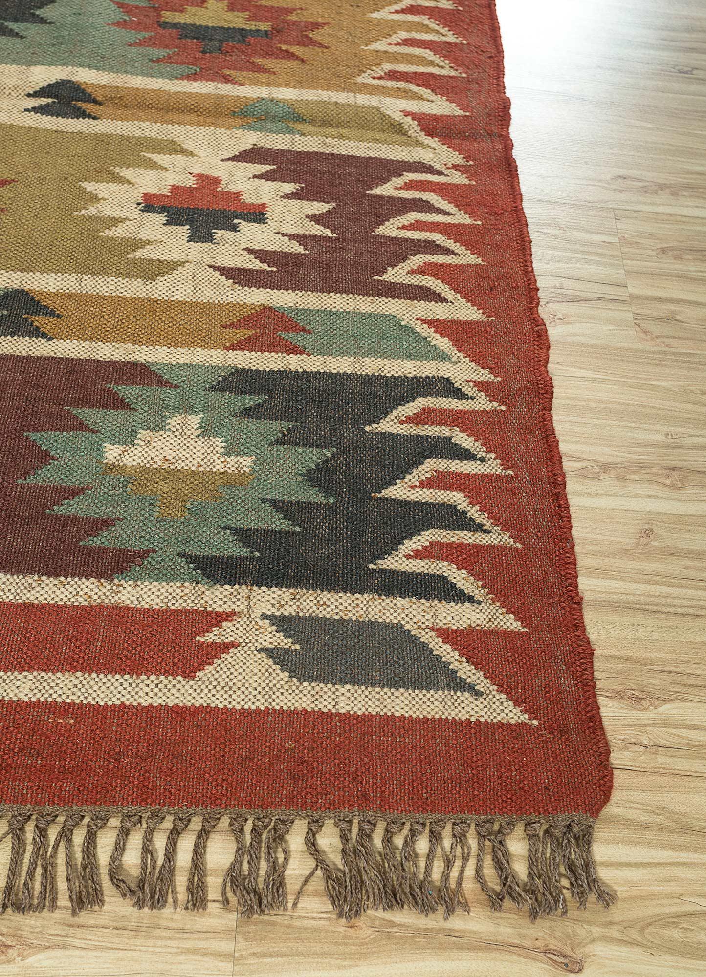 bedouin red and orange jute and hemp jute rugs Rug - Corner