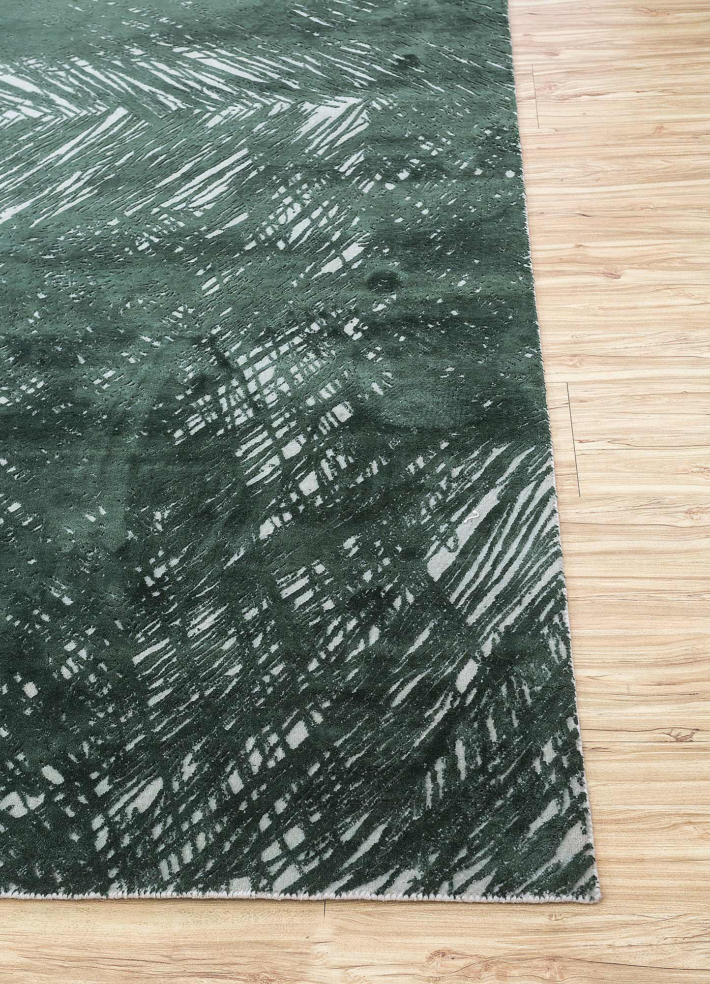 free verse by kavi ivory wool and silk hand knotted Rug - Corner