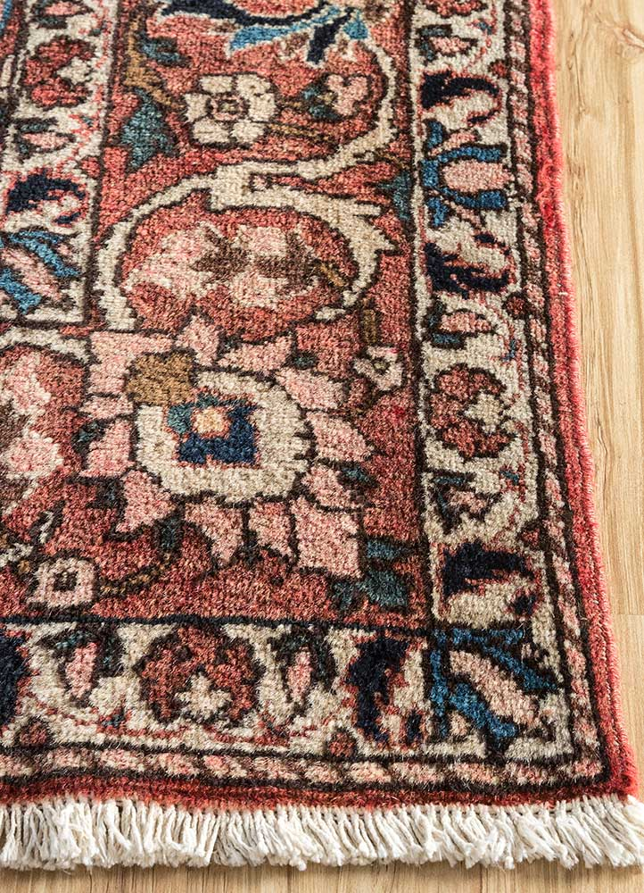 antique pink and purple wool hand knotted Rug - Corner