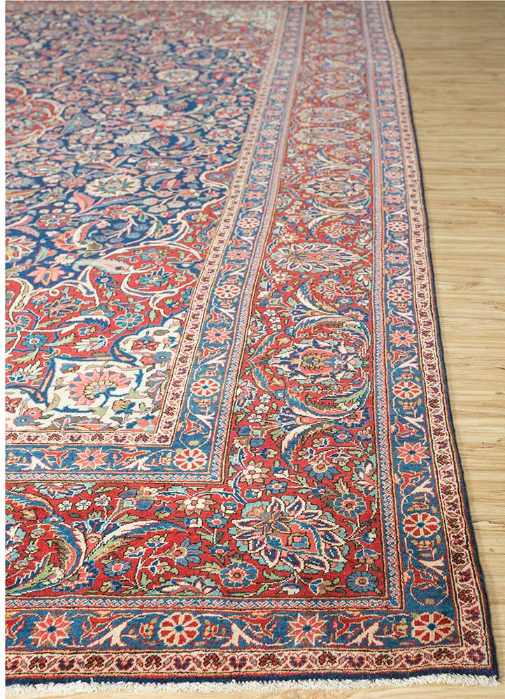 antique blue wool hand knotted Rug - Corner