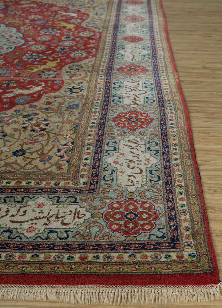 antique beige and brown wool hand knotted Rug - Corner