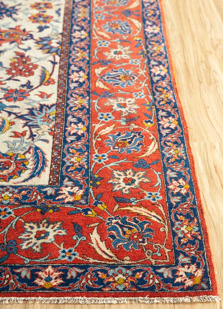 antique gold wool hand knotted Rug - Corner
