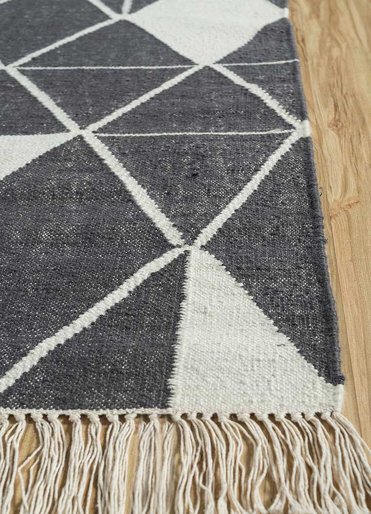 anatolia grey and black cotton flat weaves Rug - Corner