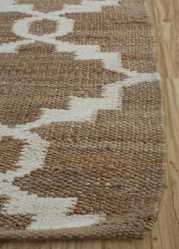 indusbar beige and brown jute and hemp flat weaves Rug - Corner