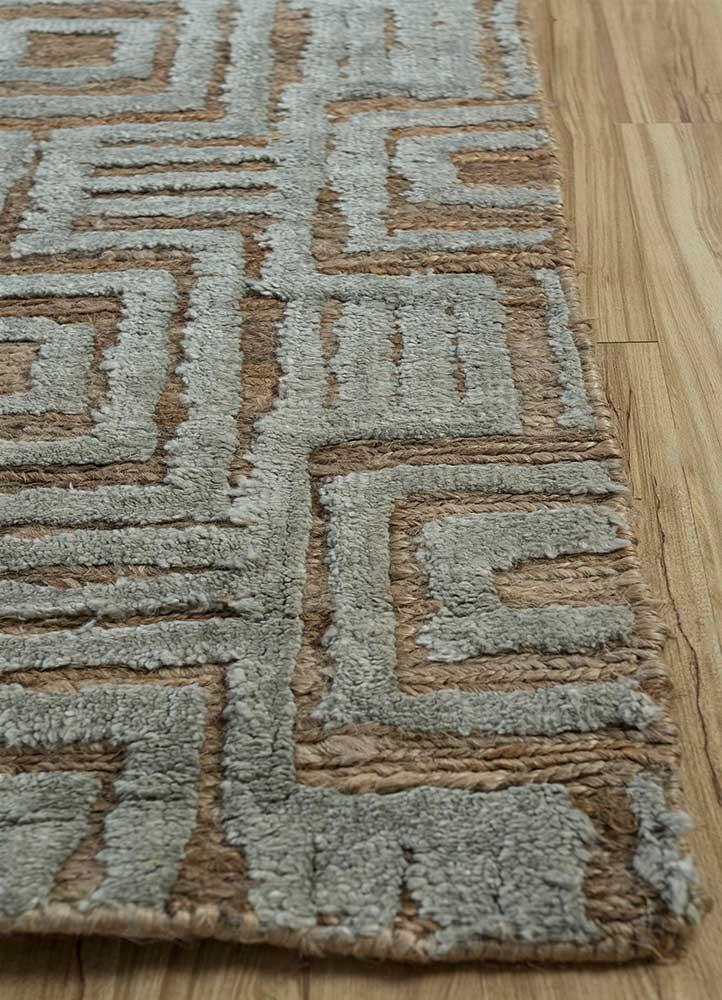 anatolia beige and brown jute and hemp flat weaves Rug - Corner